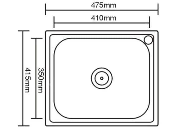 Кухонная мойка врезная металлическая 48х42 см фото 2 | интернет-магазин Складно