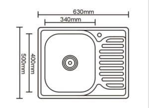 Кухонная мойка врезная металлическая 63х50 см 2490 рублей, фото 2 | интернет-магазин Складно