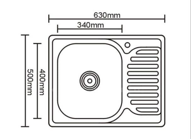 Кухонная мойка врезная металлическая 63х50 см фото 2 | интернет-магазин Складно