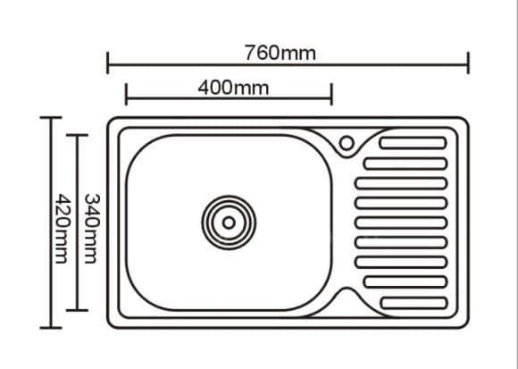 Кухонная мойка врезная металлическая 76х42 см фото 2 | интернет-магазин Складно