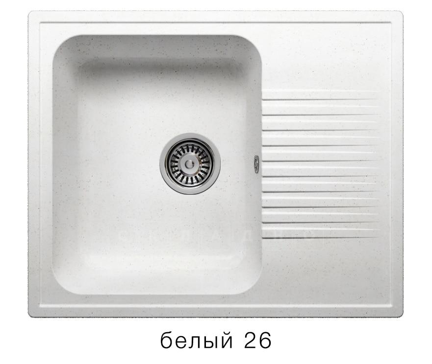Кухонная мойка POLYGRAN F-07 из искусственного камня 61х50 см с одной чашей фото 5 | интернет-магазин Складно