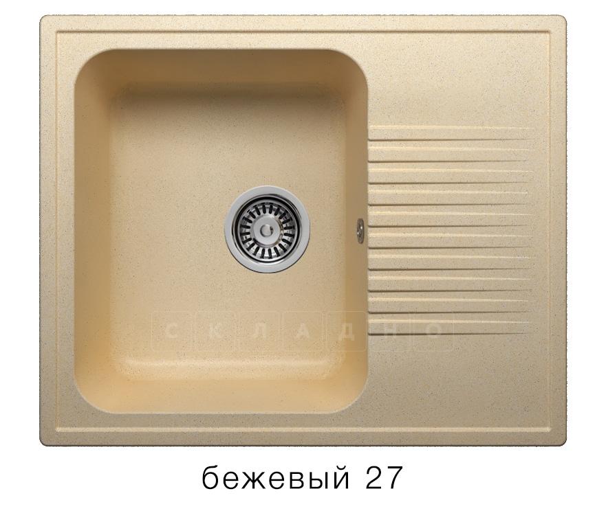 Кухонная мойка POLYGRAN F-07 из искусственного камня 61х50 см с одной чашей фото 4 | интернет-магазин Складно