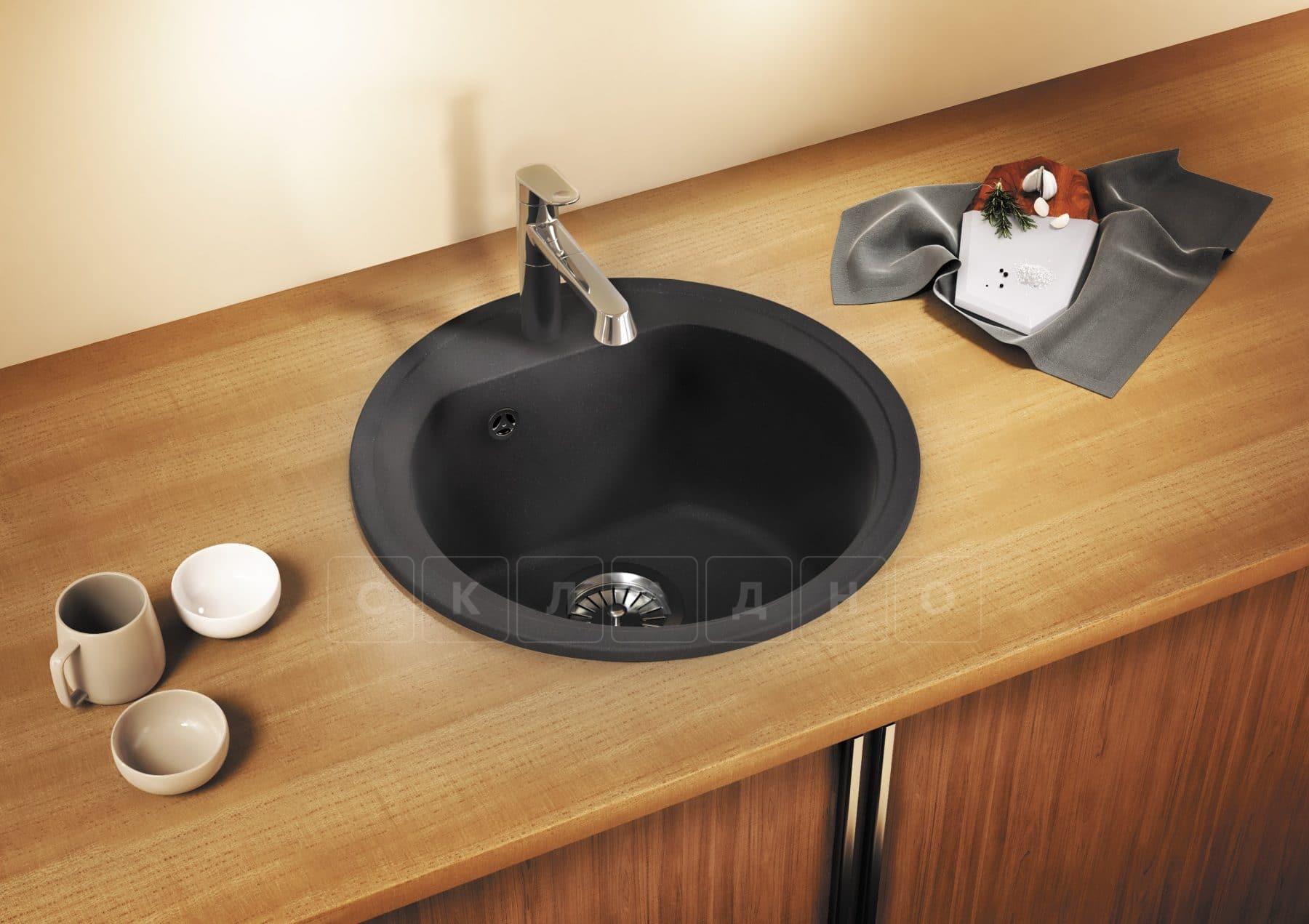 Кухонная мойка POLYGRAN F-08 из искусственного камня D51см фото 10 | интернет-магазин Складно