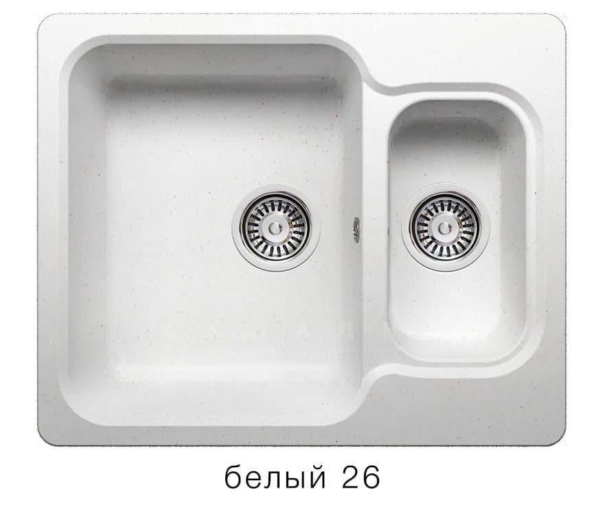 Кухонная мойка POLYGRAN F-09 из искусственного камня 61х50 см с двумя чашами фото 5 | интернет-магазин Складно