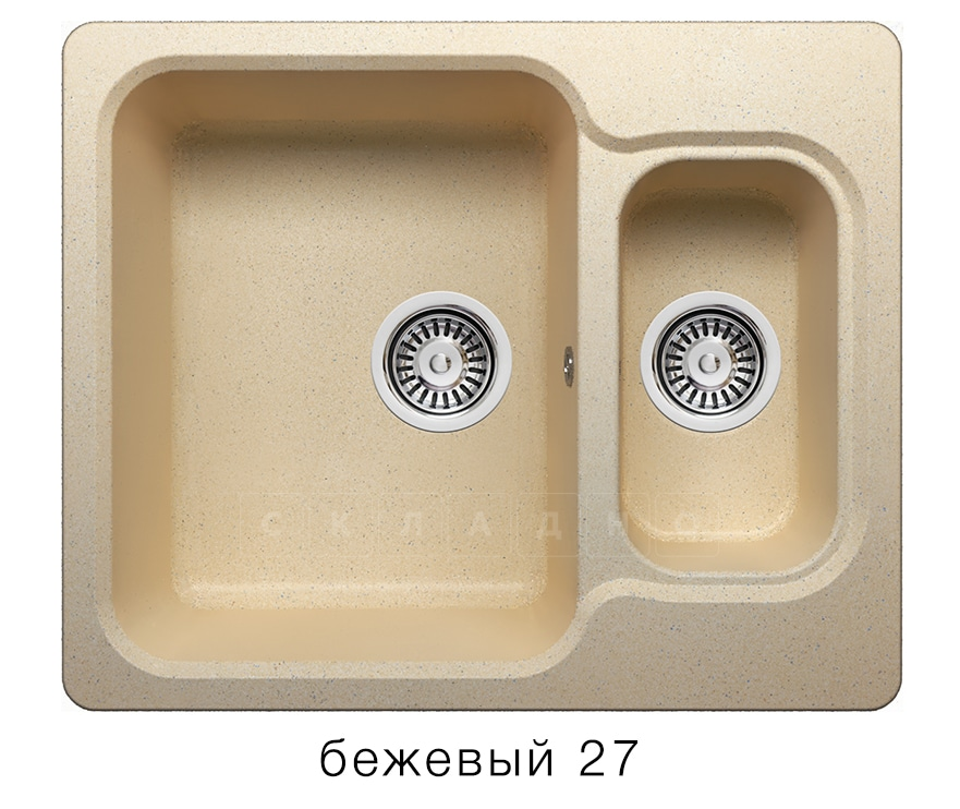 Кухонная мойка POLYGRAN F-09 из искусственного камня 61х50 см с двумя чашами фото 4 | интернет-магазин Складно