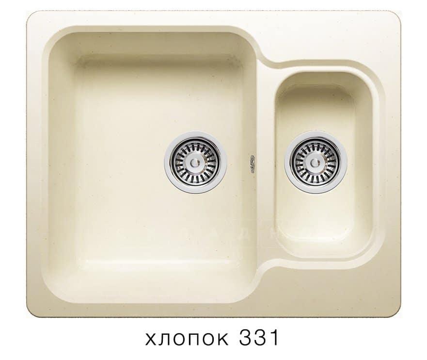 Кухонная мойка POLYGRAN F-09 из искусственного камня 61х50 см с двумя чашами фото 2 | интернет-магазин Складно