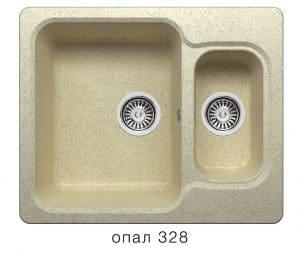 Кухонная мойка POLYGRAN F-09 из искусственного камня 61х50 см с двумя чашами 6200 рублей, фото 3 | интернет-магазин Складно