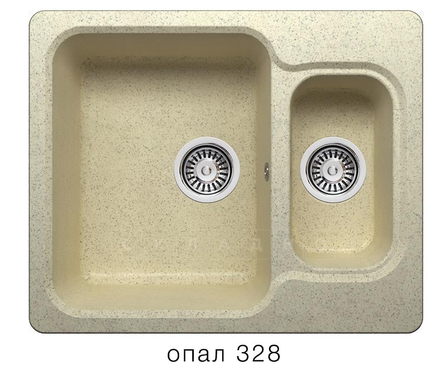 Кухонная мойка POLYGRAN F-09 из искусственного камня 61х50 см с двумя чашами фото 3 | интернет-магазин Складно