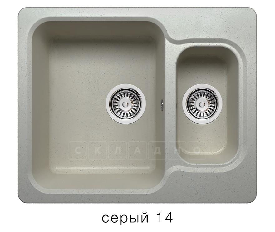 Кухонная мойка POLYGRAN F-09 из искусственного камня 61х50 см с двумя чашами фото 7 | интернет-магазин Складно
