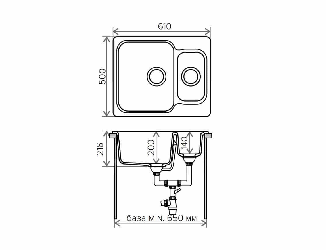 Кухонная мойка POLYGRAN F-09 из искусственного камня 61х50см с двумя чашами фото 9 | интернет-магазин Складно