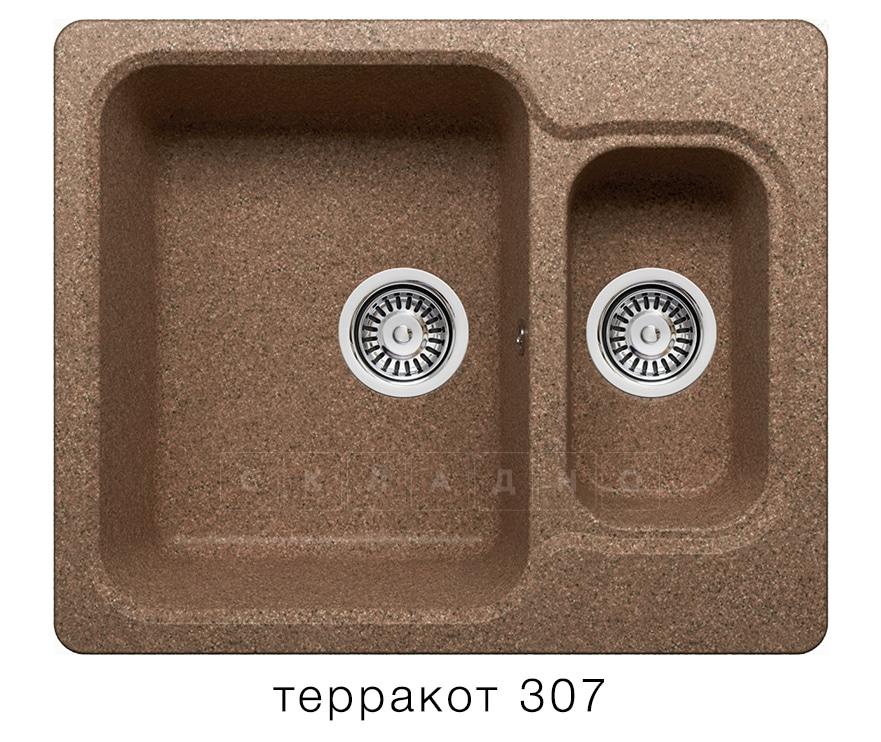 Кухонная мойка POLYGRAN F-09 из искусственного камня 61х50 см с двумя чашами фото 8 | интернет-магазин Складно
