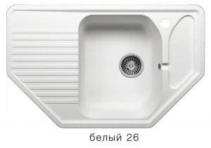 Кухонная мойка POLYGRAN F-10 из искусственного камня 80х50см угловая 6600 рублей, фото 5 | интернет-магазин Складно