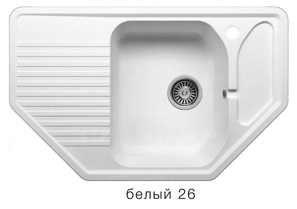 Кухонная мойка POLYGRAN F-10 из искусственного камня 80х50см угловая фото 5 | интернет-магазин Складно