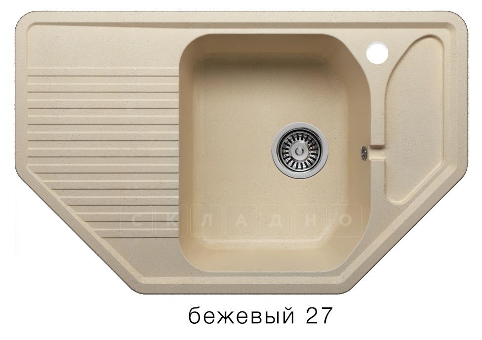 Кухонная мойка POLYGRAN F-10 из искусственного камня 80х50см угловая фото 4 | интернет-магазин Складно