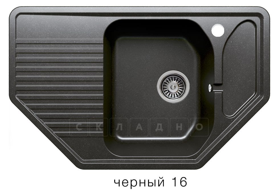 Кухонная мойка POLYGRAN F-10 из искусственного камня 80х50см угловая фото 6 | интернет-магазин Складно