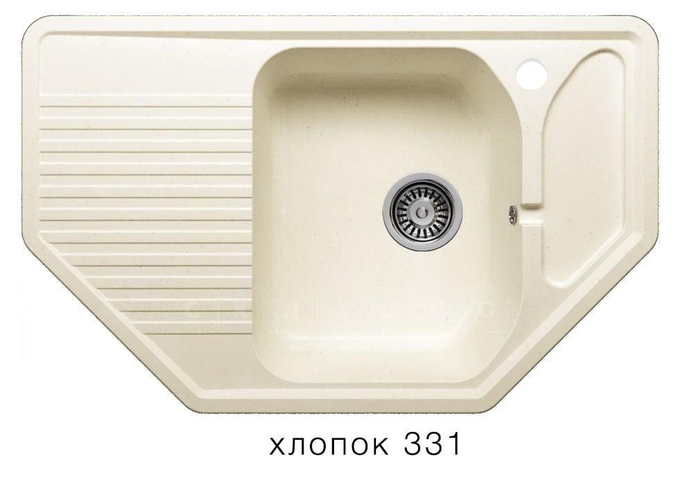 Кухонная мойка POLYGRAN F-10 из искусственного камня 80х50см угловая фото 2 | интернет-магазин Складно