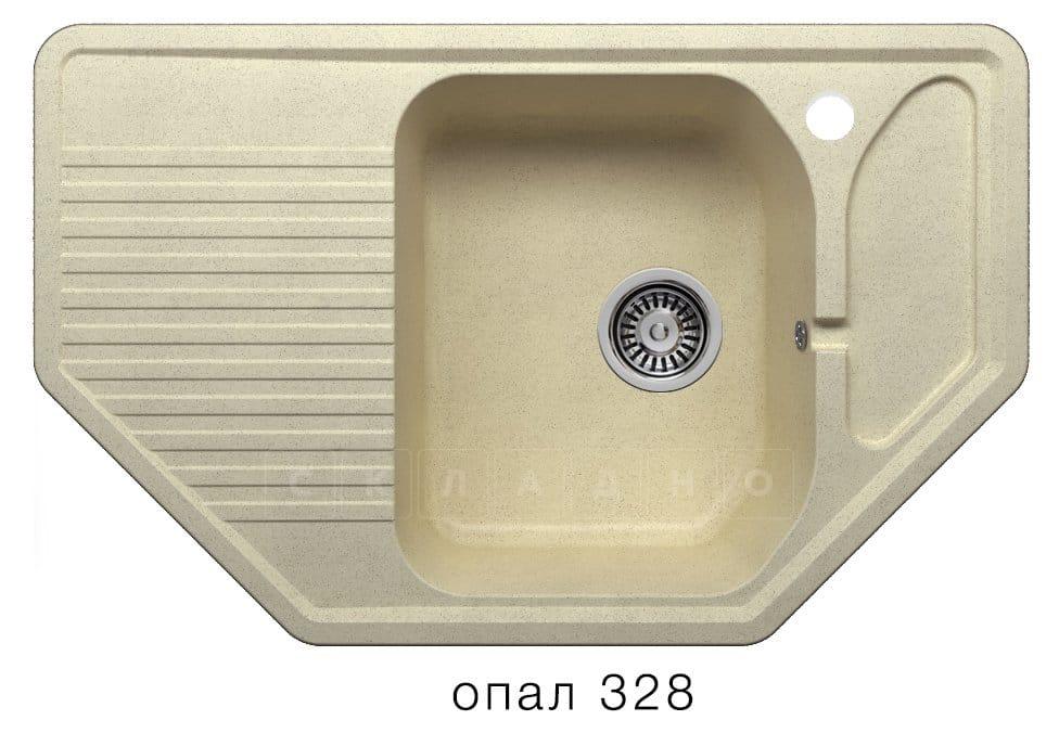 Кухонная мойка POLYGRAN F-10 из искусственного камня 80х50см угловая фото 3 | интернет-магазин Складно