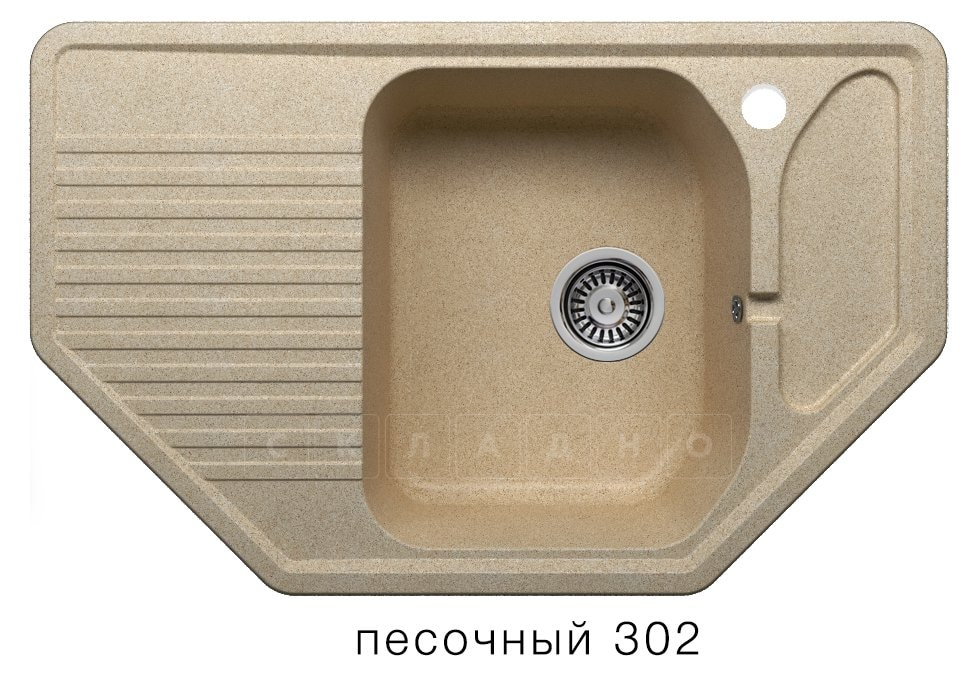 Кухонная мойка POLYGRAN F-10 из искусственного камня 80х50см угловая фото 1 | интернет-магазин Складно