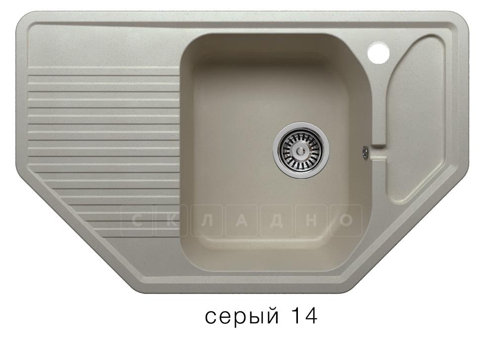 Кухонная мойка POLYGRAN F-10 из искусственного камня 80х50см угловая фото 7 | интернет-магазин Складно