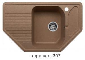 Кухонная мойка POLYGRAN F-10 из искусственного камня 80х50см угловая 6600 рублей, фото 10 | интернет-магазин Складно