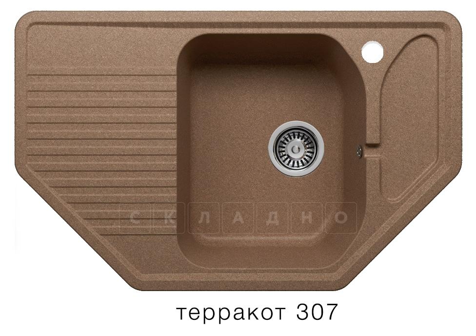 Кухонная мойка POLYGRAN F-10 из искусственного камня 80х50см угловая фото 10 | интернет-магазин Складно