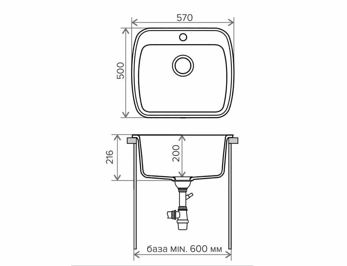 Кухонная мойка POLYGRAN F-11 из искусственного камня 57х50 см фото 9 | интернет-магазин Складно