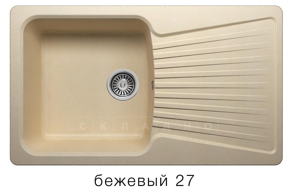 Кухонная мойка POLYGRAN F-12 из искусственного камня 85х50см фото 4 | интернет-магазин Складно