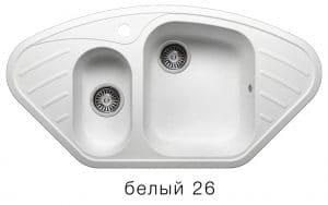 Кухонная мойка POLYGRAN F-14 из искусственного камня 96х51 см угловая 7000 рублей, фото 5 | интернет-магазин Складно