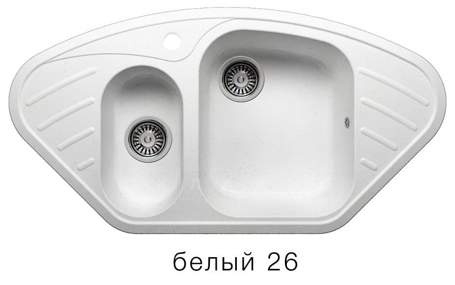 Кухонная мойка POLYGRAN F-14 из искусственного камня 96х51 см угловая фото 5 | интернет-магазин Складно
