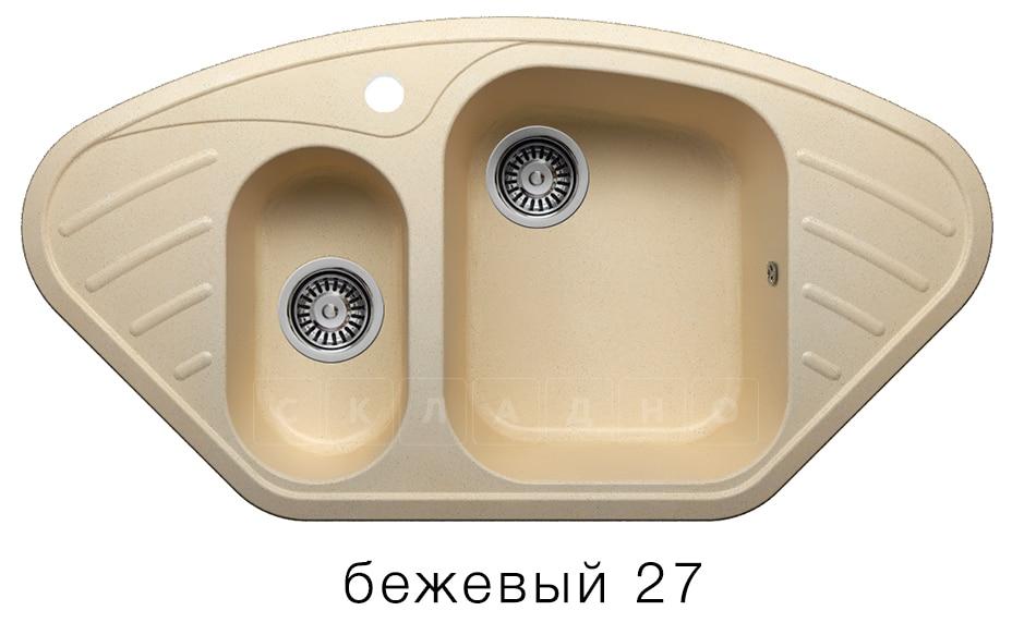 Кухонная мойка POLYGRAN F-14 из искусственного камня 96х51 см угловая фото 4 | интернет-магазин Складно