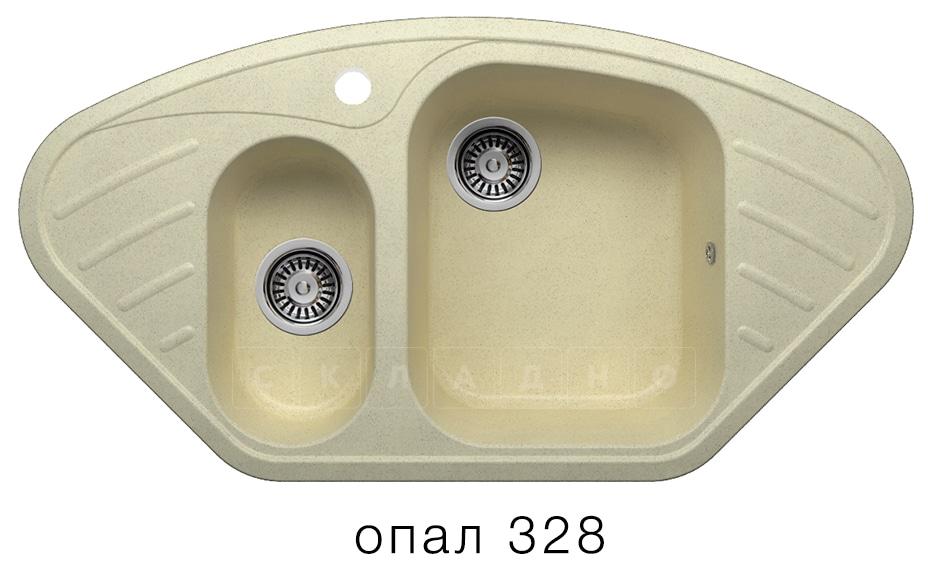 Кухонная мойка POLYGRAN F-14 из искусственного камня 96х51 см угловая фото 3 | интернет-магазин Складно
