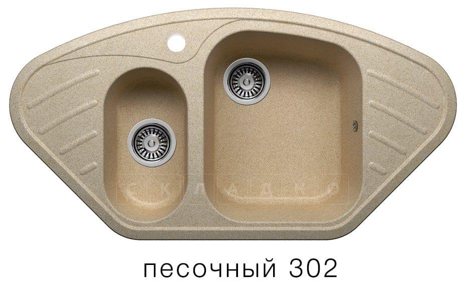 Кухонная мойка POLYGRAN F-14 из искусственного камня 96х51 см угловая фото 1 | интернет-магазин Складно