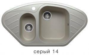 Кухонная мойка POLYGRAN F-14 из искусственного камня 96х51 см угловая 7000 рублей, фото 7 | интернет-магазин Складно