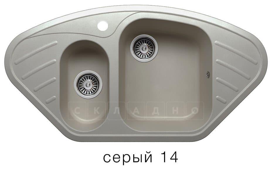 Кухонная мойка POLYGRAN F-14 из искусственного камня 96х51 см угловая фото 7 | интернет-магазин Складно