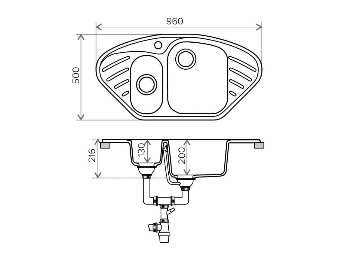 Кухонная мойка POLYGRAN F-14 из искусственного камня 96х51 см угловая фото 9 | интернет-магазин Складно