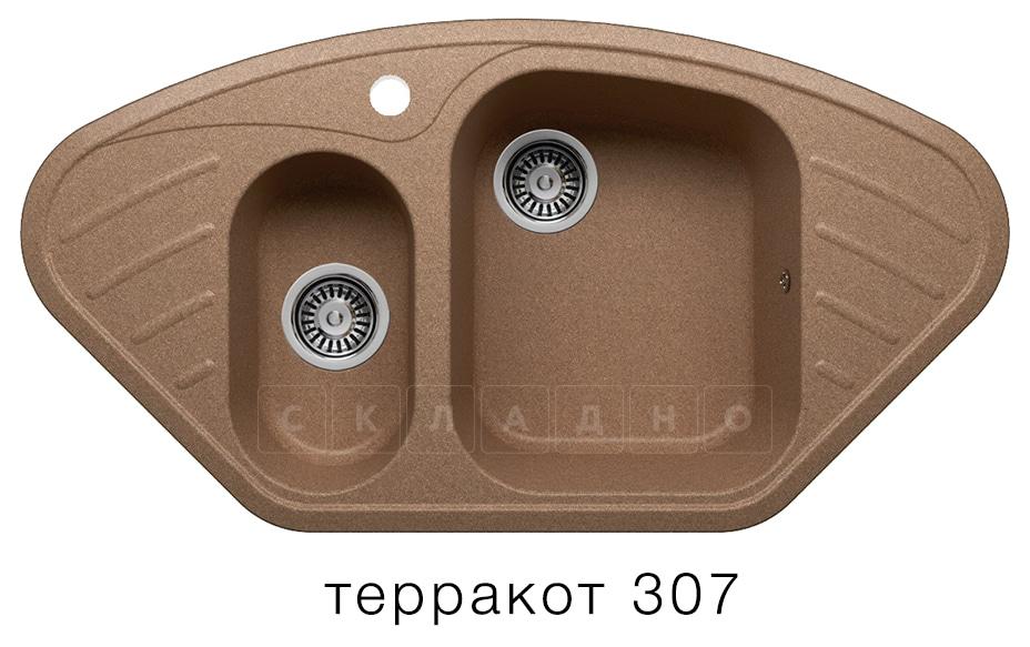 Кухонная мойка POLYGRAN F-14 из искусственного камня 96х51 см угловая фото 8 | интернет-магазин Складно