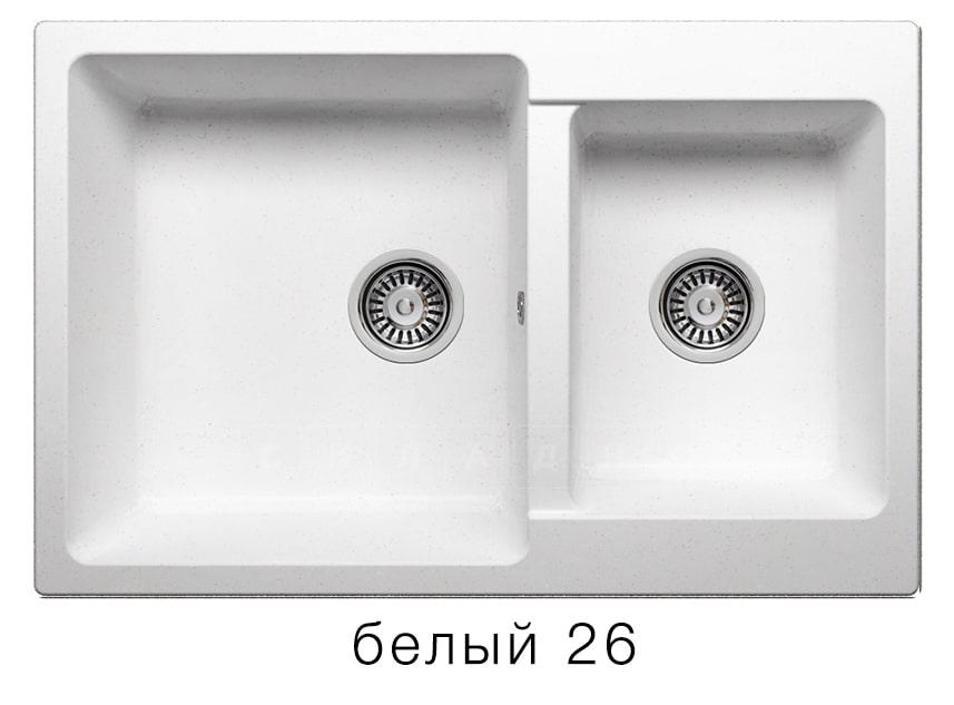 Кухонная мойка POLYGRAN F-15 из искусственного камня 77х50 см с двумя чашами фото 5 | интернет-магазин Складно