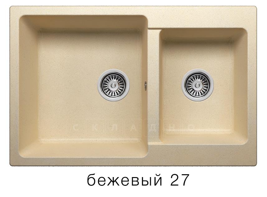 Кухонная мойка POLYGRAN F-15 из искусственного камня 77х50 см с двумя чашами фото 4 | интернет-магазин Складно