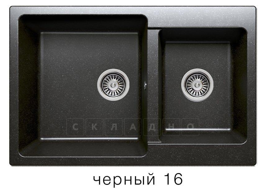 Кухонная мойка POLYGRAN F-15 из искусственного камня 77х50 см с двумя чашами фото 6 | интернет-магазин Складно