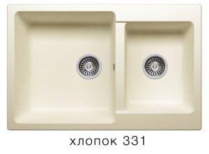 Кухонная мойка POLYGRAN F-15 из искусственного камня 77х50 см с двумя чашами 7200 рублей, фото 2 | интернет-магазин Складно