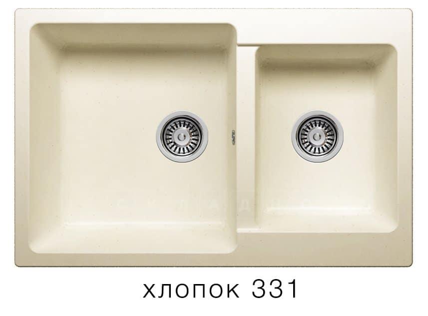 Кухонная мойка POLYGRAN F-15 из искусственного камня 77х50 см с двумя чашами фото 2 | интернет-магазин Складно