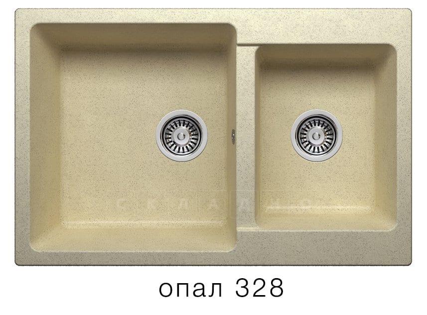 Кухонная мойка POLYGRAN F-15 из искусственного камня 77х50 см с двумя чашами фото 3 | интернет-магазин Складно