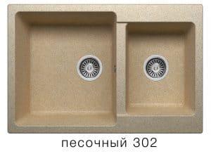 Кухонная мойка POLYGRAN F-15 из искусственного камня 77х50 см с двумя чашами  7200  рублей, фото 1 | интернет-магазин Складно