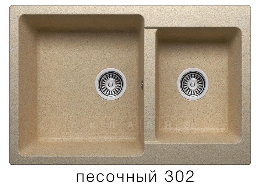 Кухонная мойка POLYGRAN F-15 из искусственного камня 77х50 см с двумя чашами фото 1 | интернет-магазин Складно