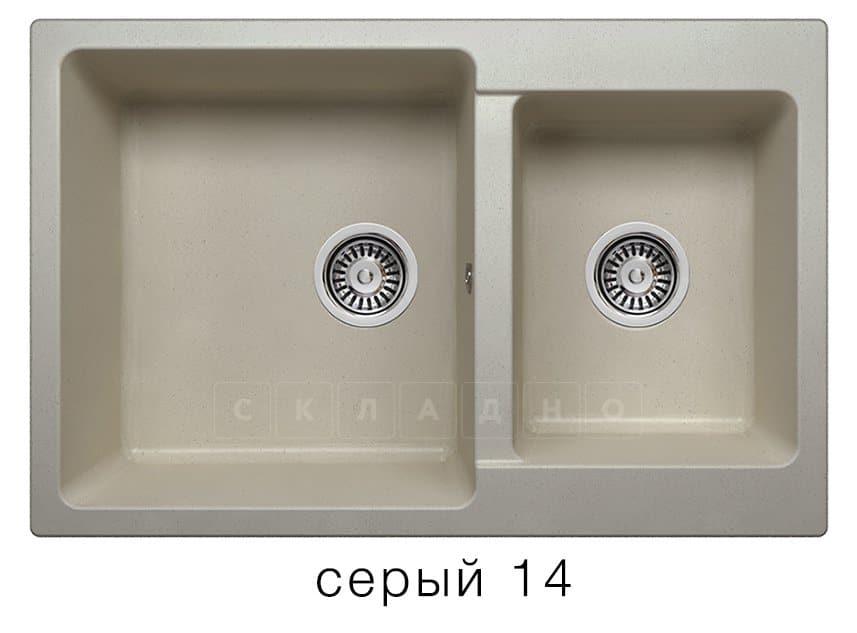 Кухонная мойка POLYGRAN F-15 из искусственного камня 77х50 см с двумя чашами фото 7 | интернет-магазин Складно