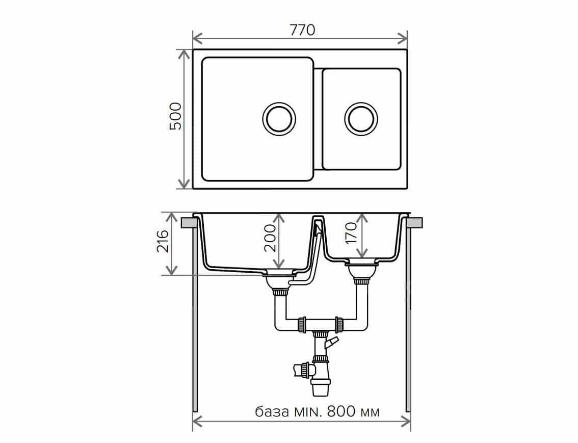 Кухонная мойка POLYGRAN F-15 из искусственного камня 77х50 см с двумя чашами фото 9 | интернет-магазин Складно