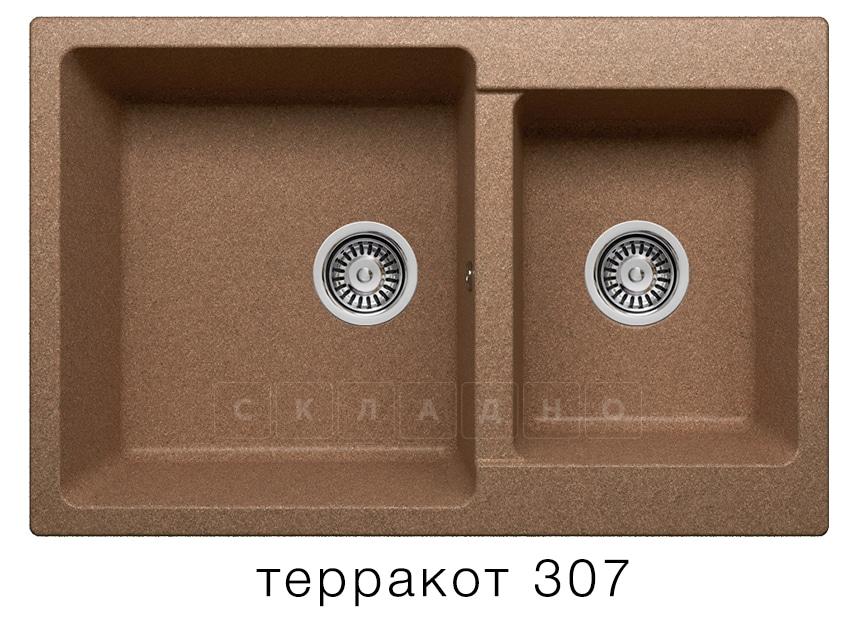 Кухонная мойка POLYGRAN F-15 из искусственного камня 77х50 см с двумя чашами фото 8 | интернет-магазин Складно