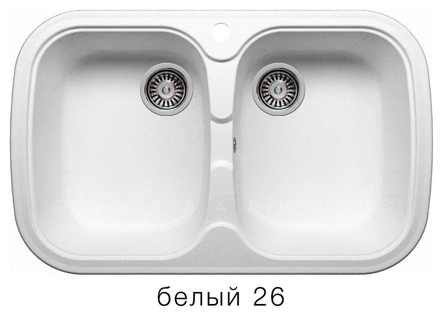 Кухонная мойка POLYGRAN F-150 из искусственного камня 80х51см с двумя чашами фото 5 | интернет-магазин Складно