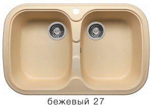 Кухонная мойка POLYGRAN F-150 из искусственного камня 80х51см с двумя чашами 7000 рублей, фото 4 | интернет-магазин Складно