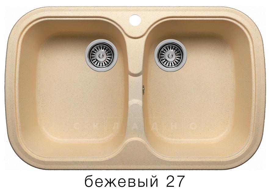 Кухонная мойка POLYGRAN F-150 из искусственного камня 80х51см с двумя чашами фото 4 | интернет-магазин Складно